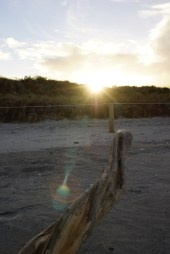 die Sonne geht hinter den Dünen unter