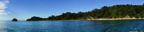 Panorama über eine Buch am Abel Tasman Park