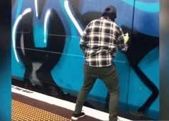 Masked youth gang deface Auckland train with graffiti