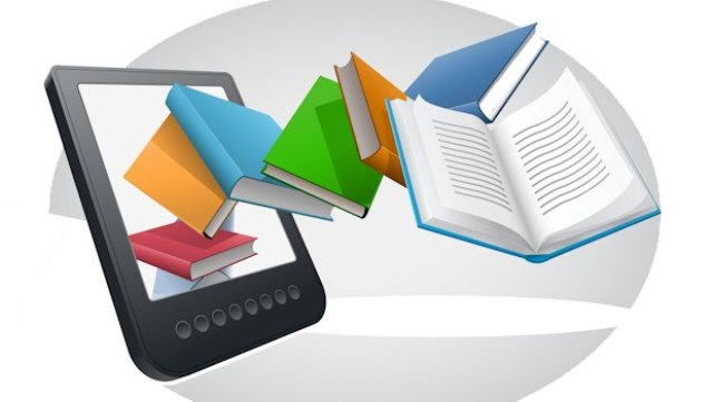 E-book reader and books. Vector illustration.