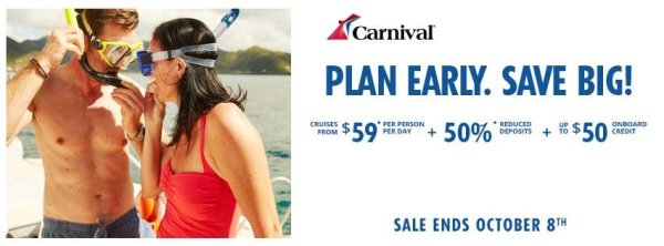 Carnival Early Saver Promo - Ends 10082018