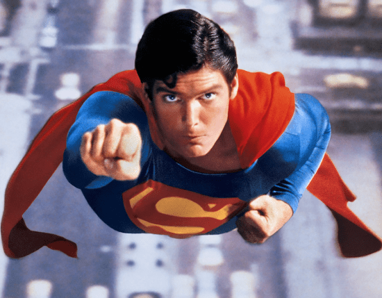 Superman demonstrating excellent form on ring alternating Supermans without the rings