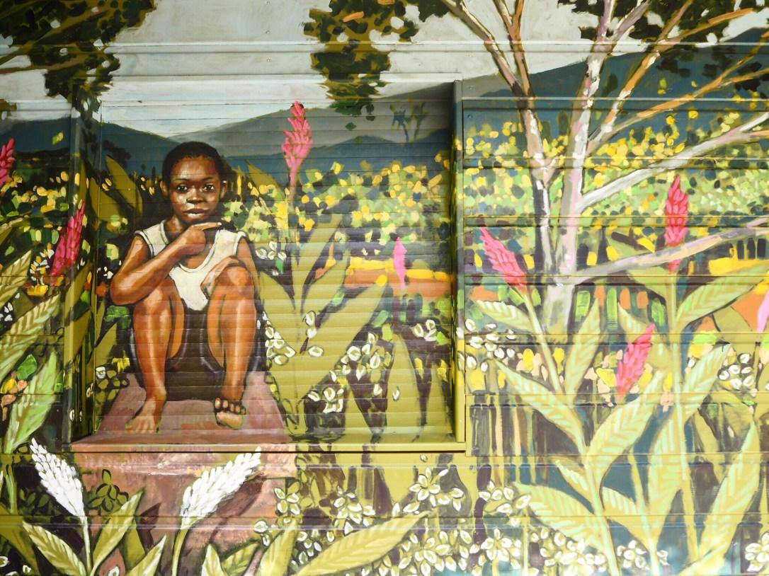 A colourful mural in le Jardin de Balata Martinique