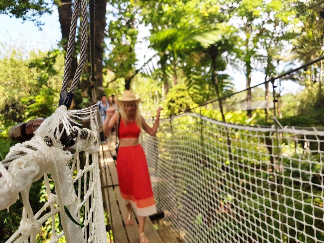 Walking across the rope bridges in the botanic garden
