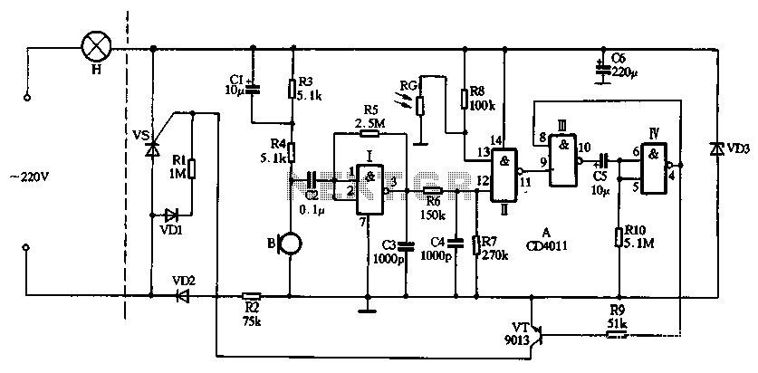 CD4011 Dual-produced Sound And Light Control Delay Lamp