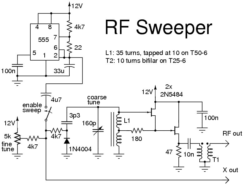 555 Timer IC For RF Sweeper