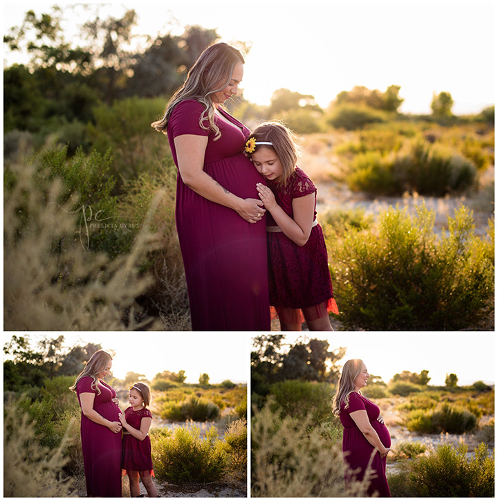 mom and daughter maternity session in glowing field