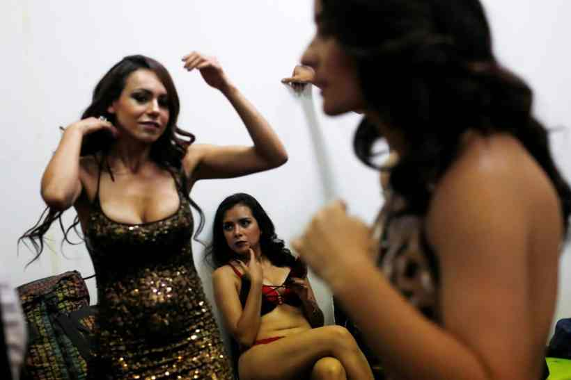 "A porn actress sits backstage during a news conference to promote the ""Expo Sex and Eroticism"" adult exhibition in Mexico City, Mexico March 1, 2017. Carlos Jasso/Reuters"