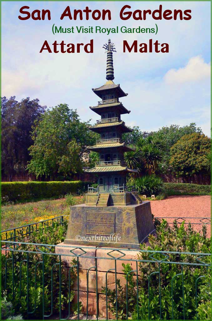 San Anton gardens Malta pagoda statue pinterest