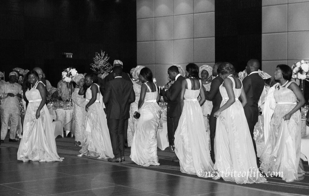 copy dancing line entrance at wedding reception