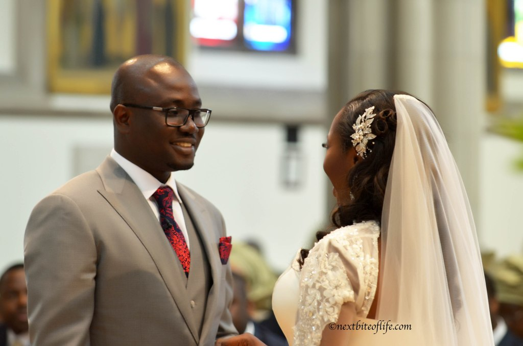 London Wedding church groom looking at bride