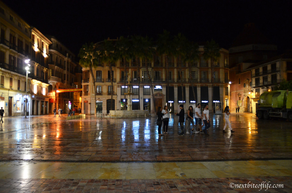 Malaga plaza constitution at night