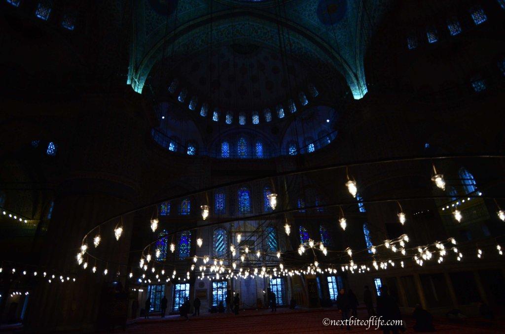blue mosque interior lit