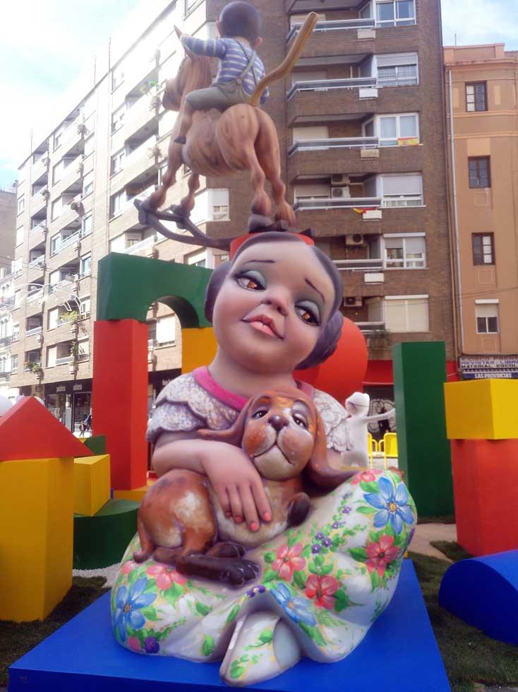 fallas ninot girl with dog