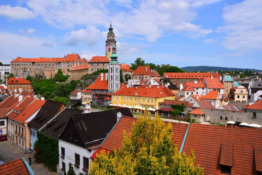 Cesky Krumlov view from hill top