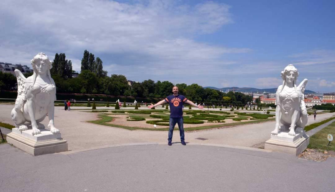 man in belvedere gardens vienna