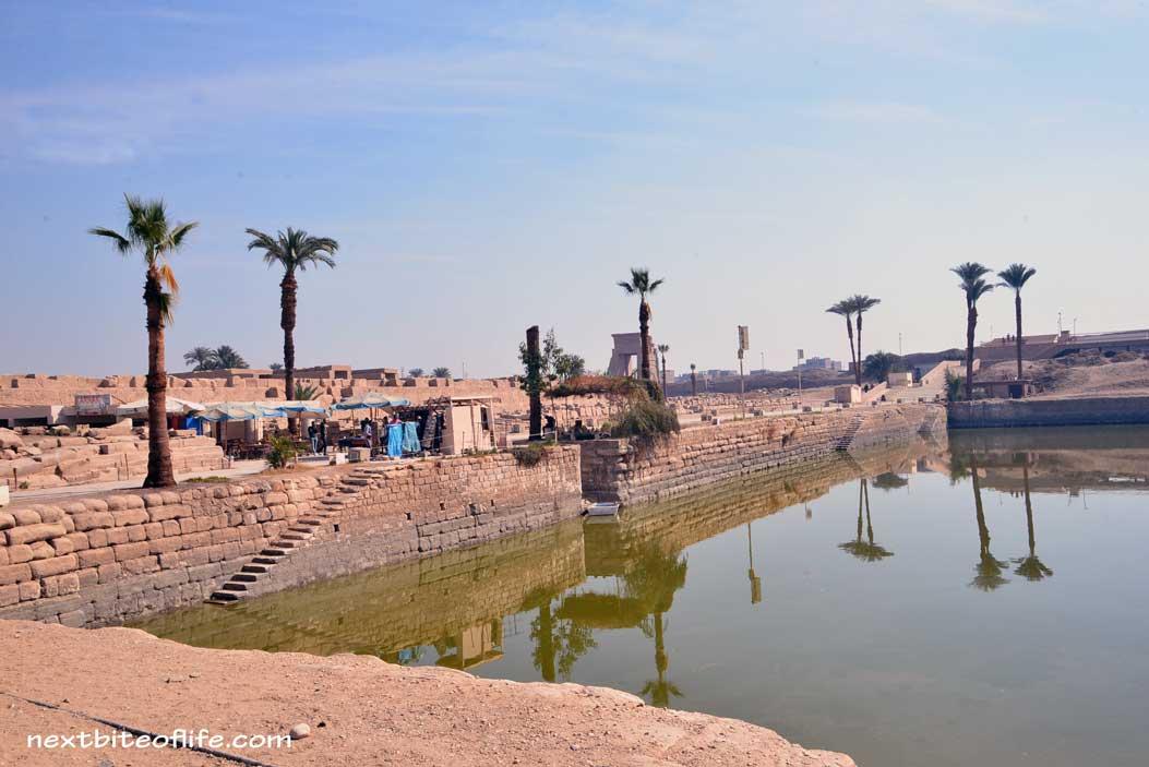 river of water at karnak temple Luxor