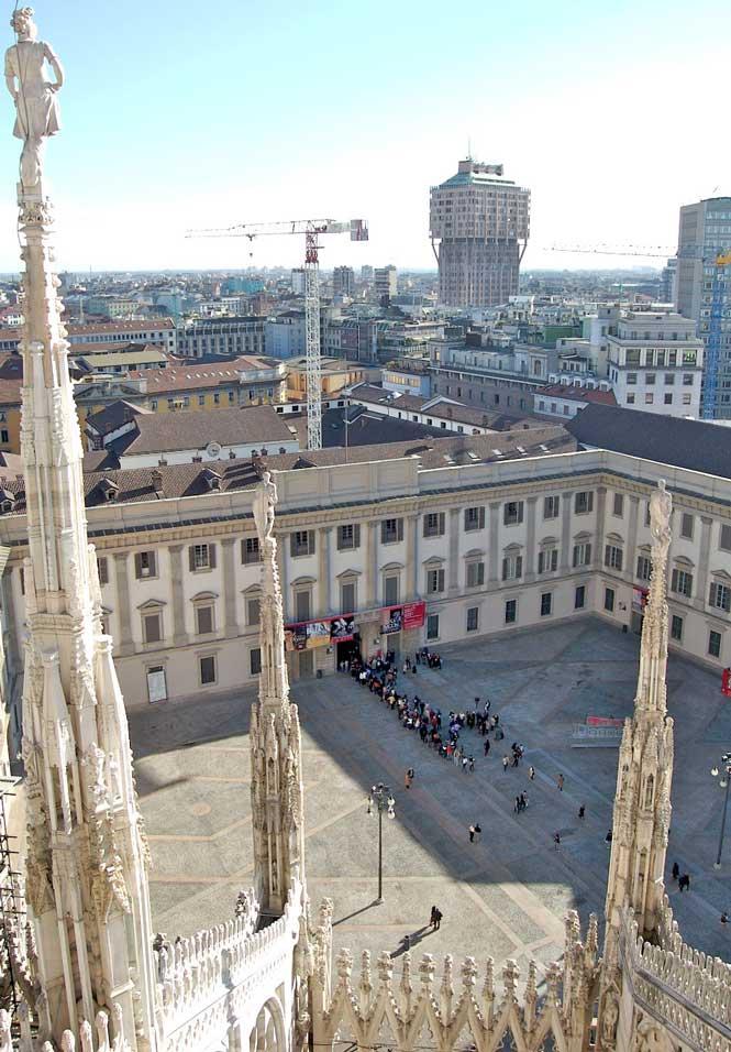 Royal palace view from the Duomo Milan