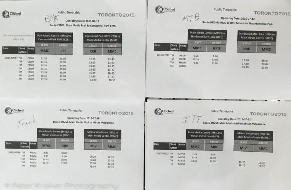 TM schedules