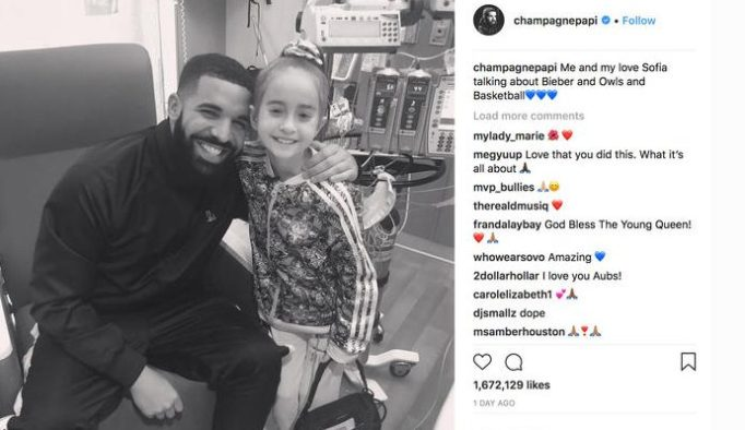 PHOTO OF THE DAY:  Drake gives birthday gift to 11 years old Sofia Sanchez waiting for heart transplant