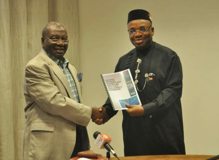 PHOTO OF THE DAY:  A'Ibom:  Victor Attah presents report on Ibom Airport to Emmanuel