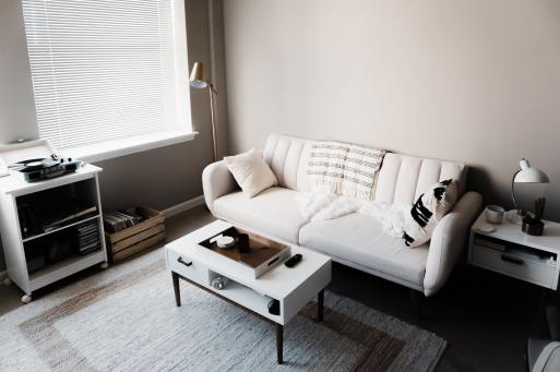 picture of couch and coffee table in living room.