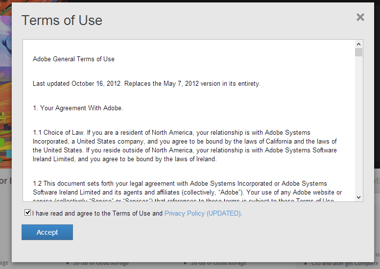 Adobe CC - Term of Use