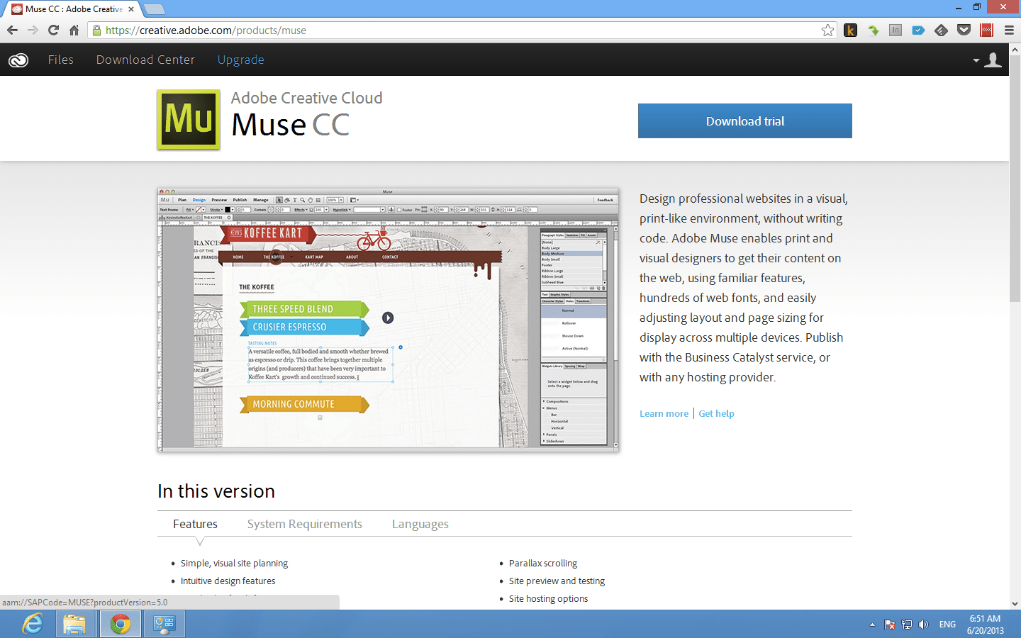 Adobe Muse CC Download page