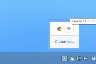 Adobe Creative Cloud Desktop in System Tray