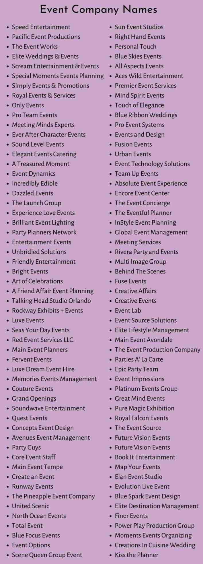 Event Company Names