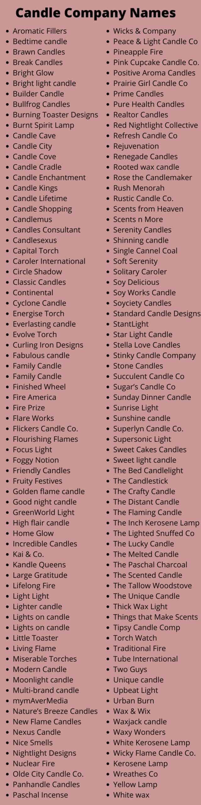 Candle Company Names