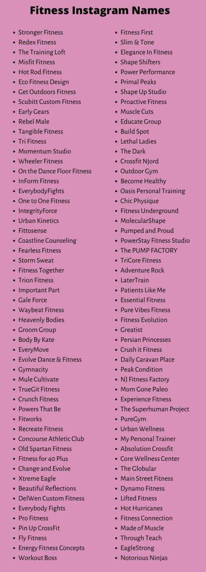Fitness Instagram Names
