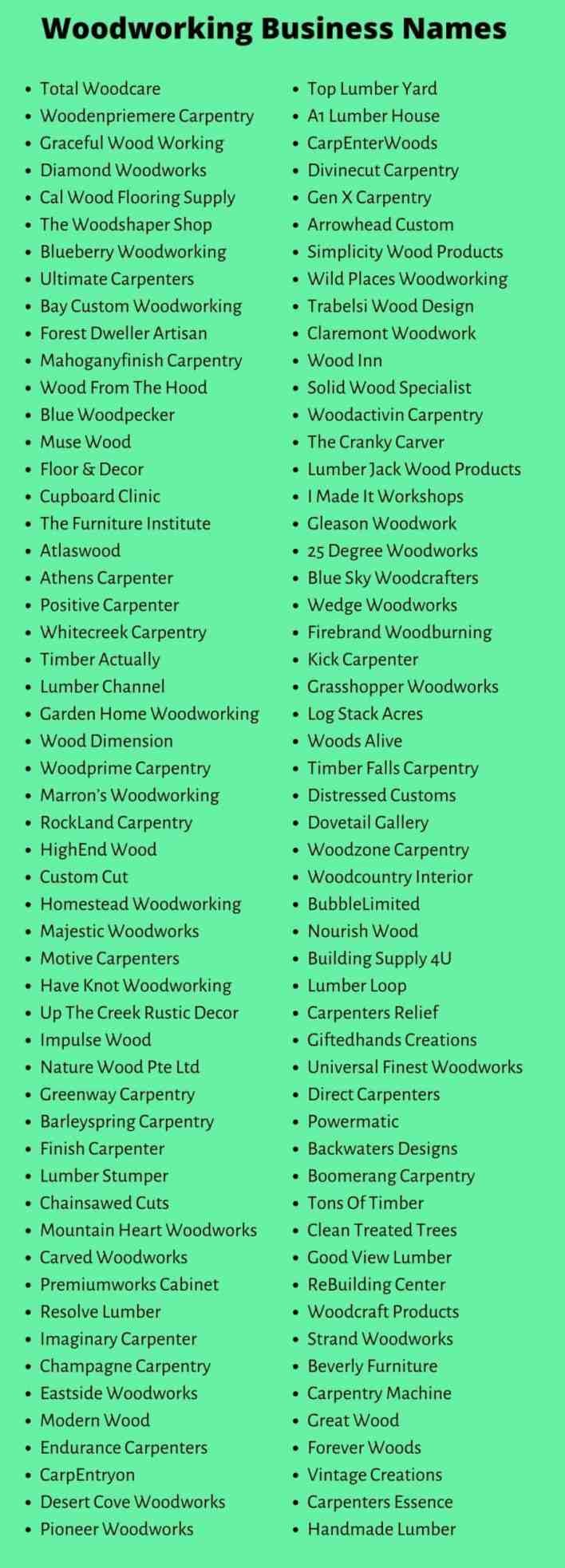 Woodworking Business Names