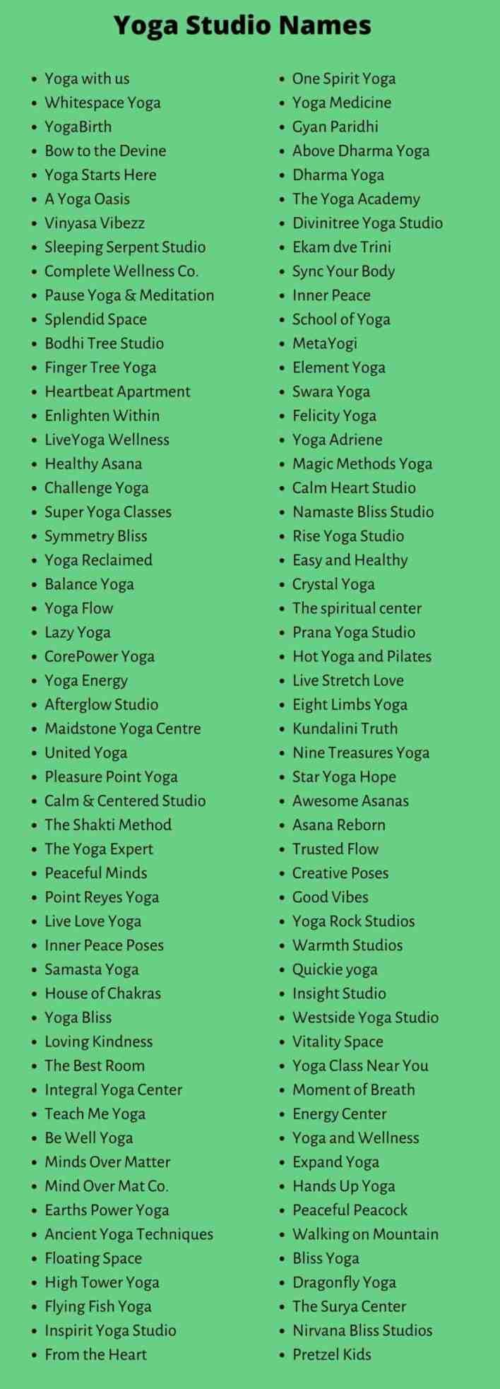 Yoga Studio Names