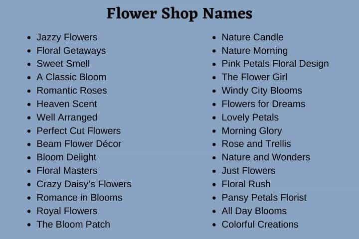 Flower Shop Names 500 Cute Florist Business Names Next Gala