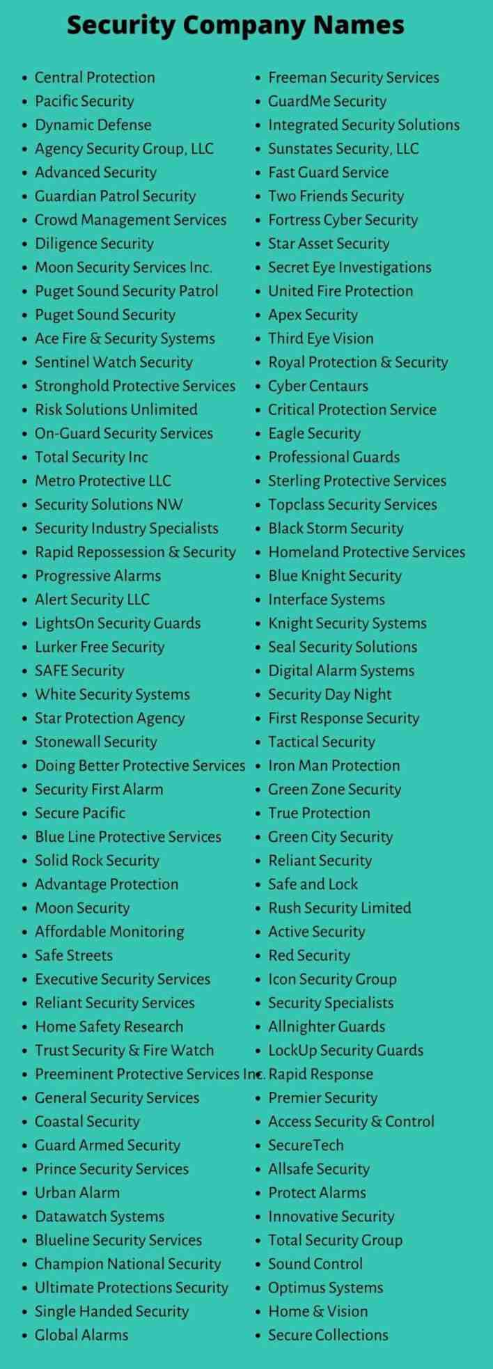 Security Company Names