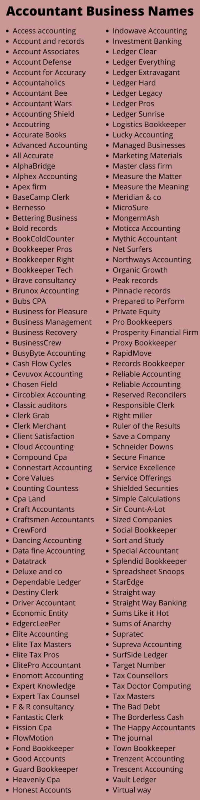 Accountant Business Names