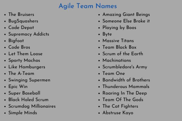 Agile Team Names