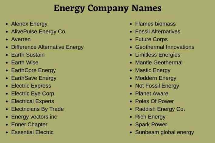 Energy Company Names