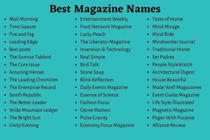 Magazine Names