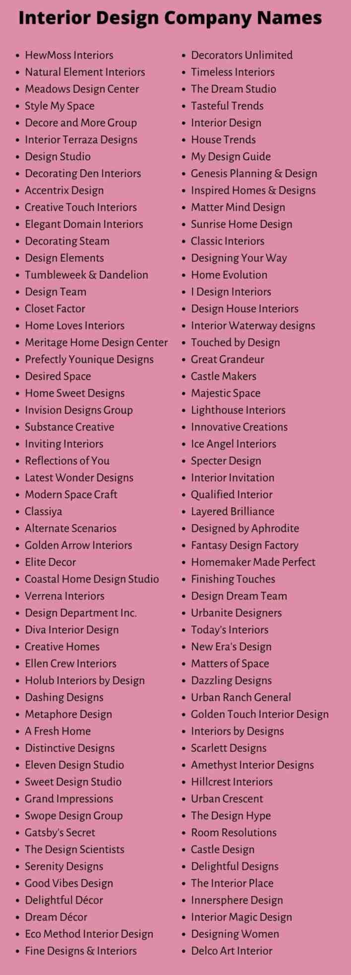 Interior Design Company Names