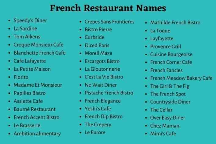 French Restaurant Names