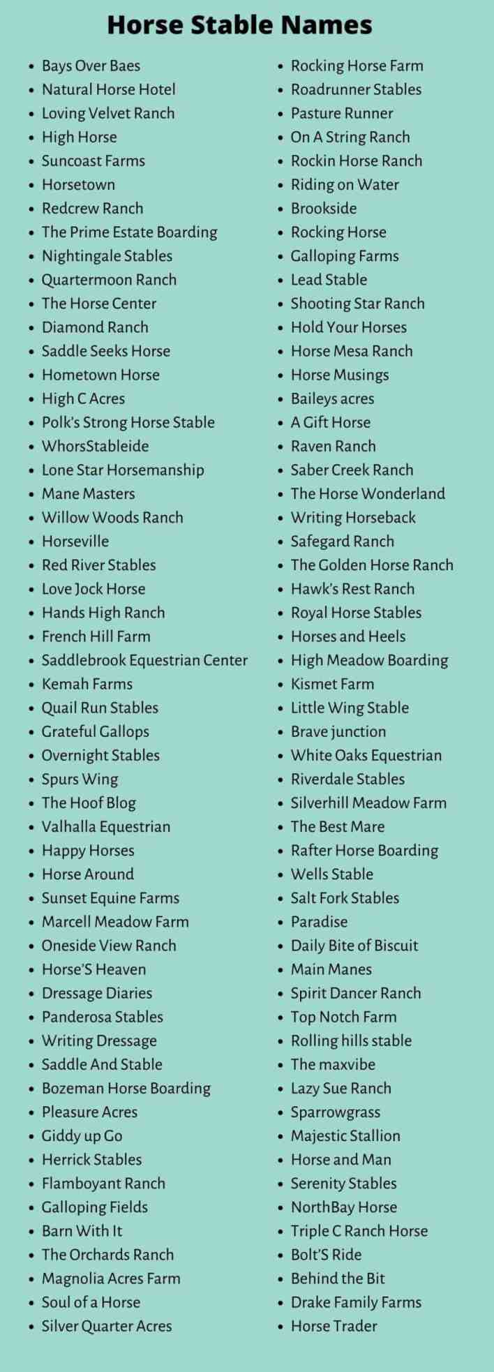 Horse Business Names