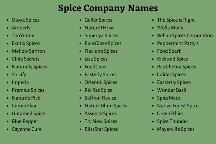 Spice Company Names