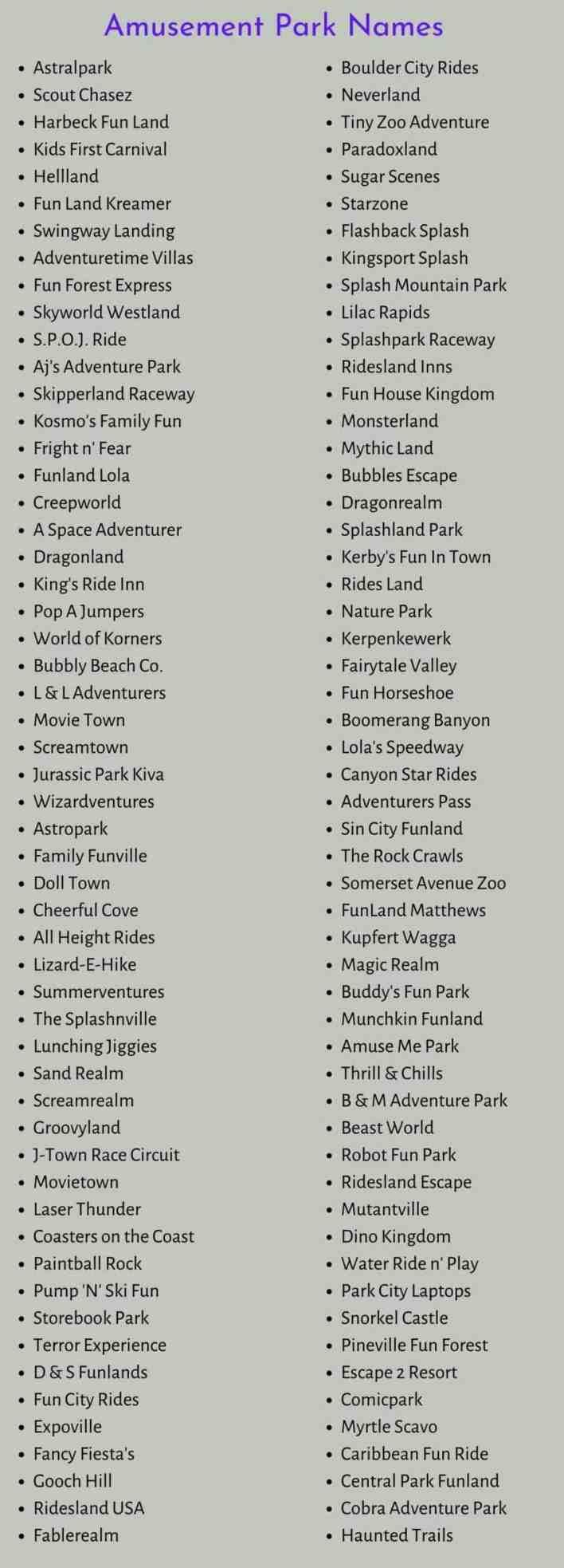Amusement Park Names