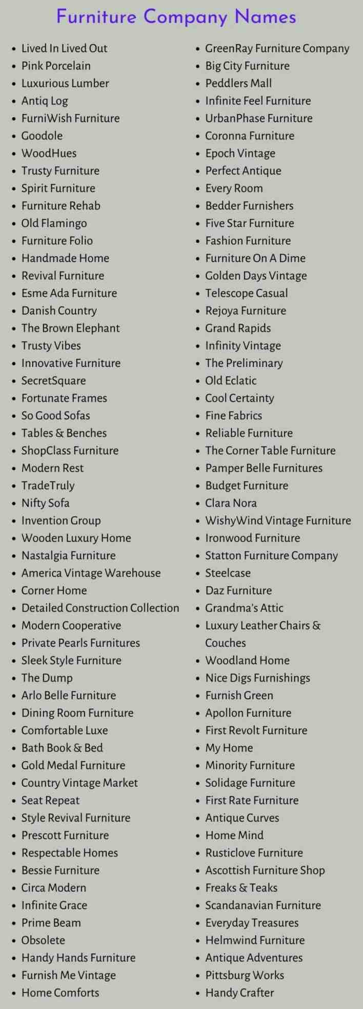 Furniture Company Names