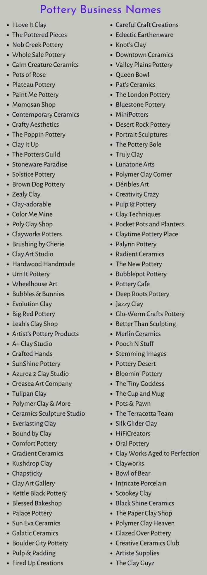 Pottery Business Names