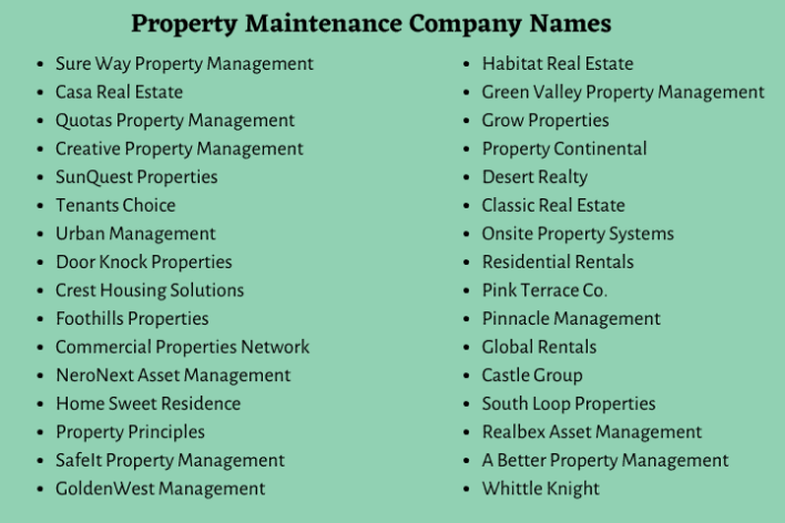 Property Maintenance Company Names
