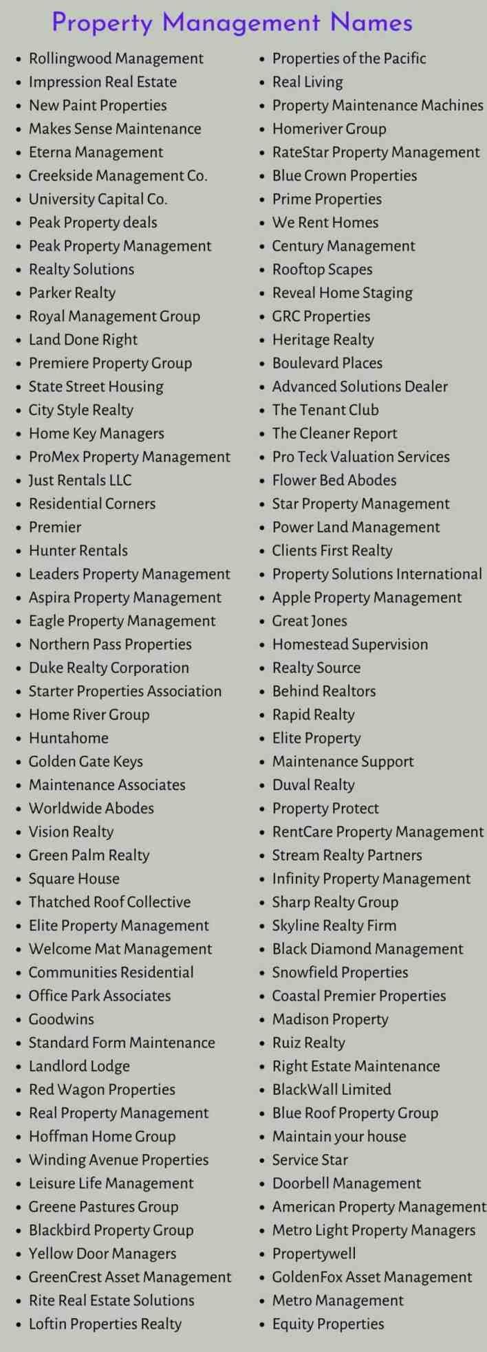 Property Management Names