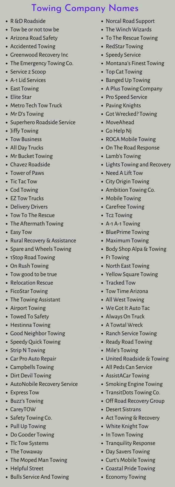 Towing Company Names